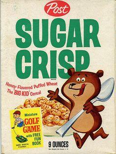Post Sugar Crisp cereal box c. 1964