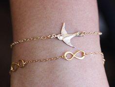 A personal favorite from my Etsy shop https://www.etsy.com/listing/271557369/bird-bracelet-gold-bird-bracelet-swallow