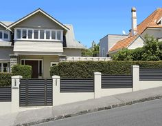 Pedestrian entrance gates, NZ made and custom designed by InStyle Gates, Auckland to enhance your home with stylish good looks. Front Yard Design, Fence Design, Garden Design, Iron Fences, Boundary Walls, Front Courtyard, Block Paving, Concrete Fence, Automatic Gate