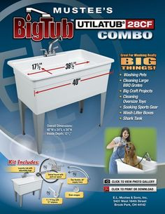 """The UTILATUB® 28CF """"BIG TUB"""" Combo Kit comes with 8"""" swing spout faucet with pull-out sprayer head, two braided 20"""" supply lines, a 1-1/2"""" P-Trap with 12"""" tailpiece, drain stopper and sealing tape."""