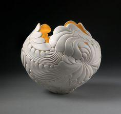 Jungle Leaf Bowl created by ceramic artist Jennifer McCurdy. Dimensions: 9 x 10 x 10 in.