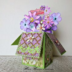 #Cardinabox #greetingcard #handmadecard  Heartedly Handcrafted (The Joys of an Eclectic Crafter): Flower Box Greeting Card