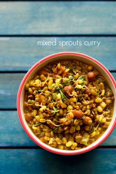 mixed sprouts curry - simple curry made with mixed sprouts. nutritious side dish with chapatis.  #sprouts #curry