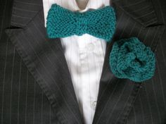 Bow tie and button hole set Boutonniere by thekittensmittensuk, £9.99