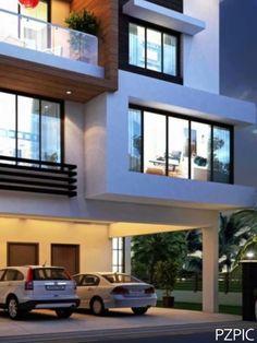 3d House Plans, Indian House Plans, Duplex House Plans, Bedroom House Plans, Dream House Plans, 3 Storey House Design, Duplex House Design, House Front Design, Small House Design