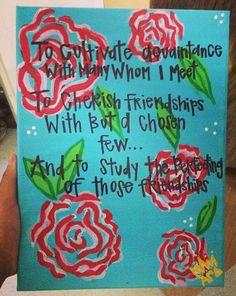 sweet on ΑΓΔ ✿ omg this is literally the canvas my big made me! It's on my wall!