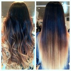 Dark brown shade melting beautifully into blonde Dip dye extensions in various lengths and shades☝Next day delivery to Canada & USA #longhair