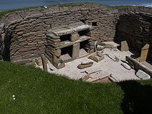 Skara Brae 3180 BC a Neolithic village in Scotland with a high degree of sophistication including furnishings and drainage