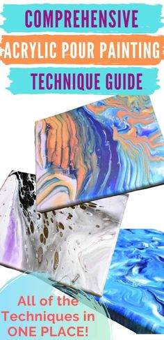 Learn everything you wanted to know about acrylic pour painting with this Comprehensive Acrylic Pour Painting Technique Guide! Video tutorials and written discriptions and step-by-step nstructions for EVERY technique in ONE PLACE! Great for beginners! Pour Painting Techniques, Acrylic Pouring Techniques, Acrylic Painting Lessons, Acrylic Pouring Art, Acrylic Painting Tutorials, Acrylic Paintings, Painting Tips, Color Mixing Chart, Painted Cups