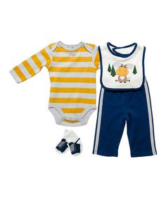Another great find on #zulily! Yellow & Navy Moose Bodysuit Set by Cutie Pie Baby #zulilyfinds
