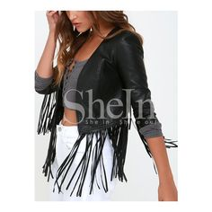 SheIn(sheinside) Black Tassel Crop Jacket ($36) ❤ liked on Polyvore featuring outerwear, jackets, black cropped jacket, black jacket and cropped jacket