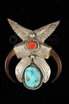 shopgoodwill.com: Carlos White Eagle Turquoise And Silver Pendant