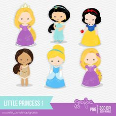LITTLE PRINCESS 1  Digital Clipart ,Digital Clipart Princess Disney / Personal and Commercial Use  / Instant Download