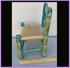 Hand Painted Child's Toy Chair Mexican Tourist Folk Art Extra Small from toinetterl on Ruby Lane