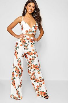 dc9282cc6be8 Raegan Peach Print Bralet Trouser Co-ord Trouser Co Ord, Two Piece Outfit,