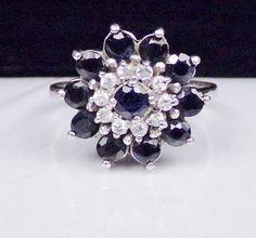 Sterling Silver Sapphire CZ Ring Gemstone Deco Cluster Band Modern Designer #Unknown #Cluster