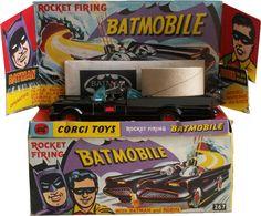 Rocket Firing Batmobile toy with Batman and Robin figures, United Kingdom, 1966, Corgi Toys.