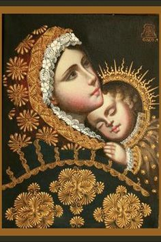 Mary and child:  Madonna [just a starry sky form with human head (Firmament) and the the three points of the Sun on the arch of the Firmament. He has the Sun crown that she is obviously not wearing]