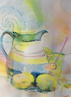 """""""When Life Hands You Lemons"""" what says summer more than a pitcher of lemonade.  Watercolor."""