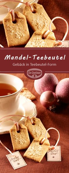 Mandel-Teebeutel: Tee-Gebäck in Teebeutel-Form mit Anhänger