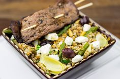 Mediterrean Bulgur Wheat Salad: This healthy salad is topped with grilled flank steak for a delicious summer meal!