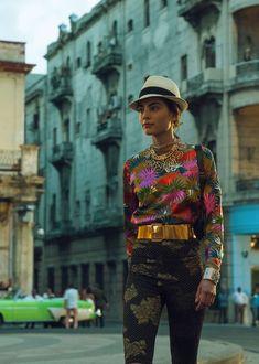 Chanel Show in Cuba - a model walking in the show.