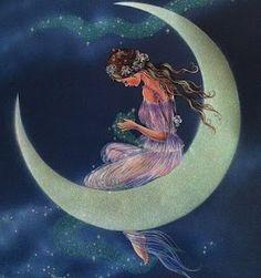 Fairy on crescent moon