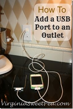 How handy would this be? How to Add a USB Port to an Outlet via Virginia Sweet Pea