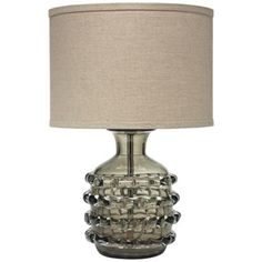 Jamie Young Ribbon Taupe Glass Jug Table Lamp With White Linen Shade
