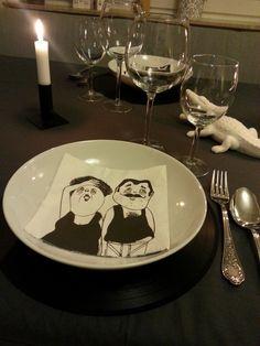 Diner mit Freunden - Tischdeko dunkelgrau weiß Schallplatten Dinera Solingen