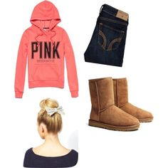 Cute outfit by pinksparklesloth on Polyvore featuring Victoria's Secret PINK, UGG Australia, ASOS and Hollister Co.