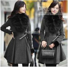 2112404 - 2013 Elegant Autumn & Winter Women Long Fur Collar Pleated Genuine Leather Waist Wool Coat Lady Long Overcoat Free Shipping