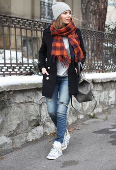 @roressclothes closet ideas #women fashion outfit #clothing style apparel Casual Outfit Idea with Scarf