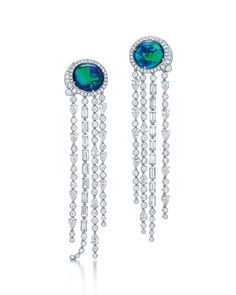 Tiffany earrings from the 2015 Blue Book collection set with 8.87ct black opals and mixed-cut diamonds in platinum. http://womensjewel.7asecond.net/