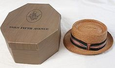 Saks-Fifth-Avenue-7-1-8-Straw-Boater-Fedora-Vintage-Mens-Hat-in-Original-Box