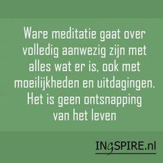 Quote – Ware meditatie gaat over volledig aanwezig zijn met alles wat er is