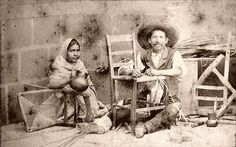Mending chairs  Los tejedores (Entulador) This mexican couple is making or mending chairs. - visit us on line at www.mainlymexican... and on eBay #Mexican #Mexico #antique #vintage #photography