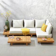 Why Teak Outdoor Garden Furniture? Living Room Sofa Design, Home Room Design, Living Room Designs, Living Room Decor, Home Decor Furniture, Pallet Furniture, Furniture Plans, Furniture Design, Living Furniture