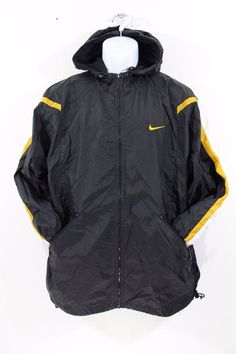 581fc563038366 Vintage nike black yellow hooded full zip windbreaker jacket mens medium m