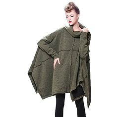 Peony Womens Oversized Knitted Turtleneck Sweater Poncho Cape Shawl Cardigans One Size Green >>> Check out the image by visiting the link.