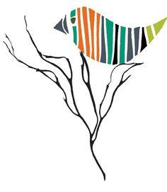 Striped Bird Nesting in Tree by Velásquez©2013