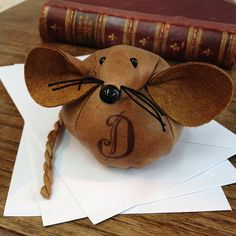 Handmade Leather Monogram Mouse Paperweight