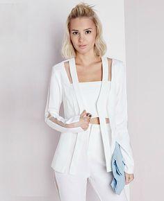 Перспектива сращивание кабеля органза сетчатая ткань женщины белый костюм куртка дамы свободного покроя пр пиджак приталенный пальто XS XXL купить на AliExpress