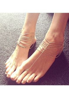 Multi-story Chain Anklets - Gold