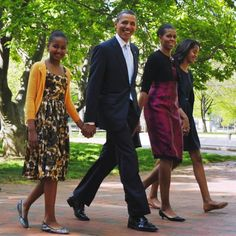 President Barack Obama and First Lady Michelle Obama, with their daughters Sasha and Malia, walk across Lafayette Square from the White House for 2012 Easter Service at St John's Episcopal Church in Washington, DC. Malia Obama, Barack Obama Family, Michelle Obama, First Black President, Mr President, Black Presidents, American Presidents, Black Love, Black Is Beautiful