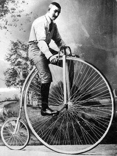 Two Men On High Wheel Boneshaker Bicycles Penny Farthing 1880s