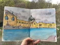 Budapest, Szechenyi thermal bath Watercolor, liner