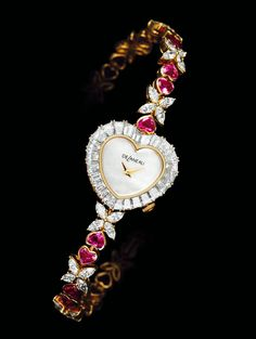 Swiss Watchmaker DeLaneau specialises in Watches for Women featuring Miniature Masterpieces on hand painted dials||DeLaneau's Delicate ❤Jewellery Watch is Gem-set with Baguette-cut Diamonds, Intense-Pink ❤-Shaped Sapphires and 40 Navette Diamonds.