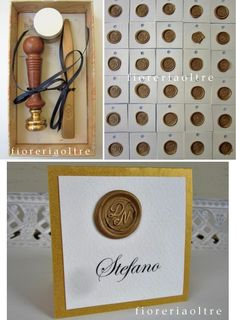Fioreria Oltre/ 50th wedding anniversary/ Golden anniversary place card/ Gold seal place card/ Wax seal escort card