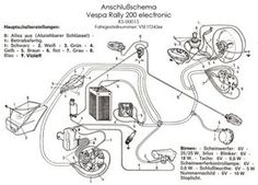 Vespa wiring diagram, no battery, no starter. Vespa